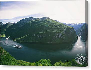 Panoramic View Of Geiranger Fjord In Norway Canvas Print by Oksana Bystritskaya