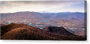 Panoramic View Of Lake Hiwassee Seem From The Brasstown Bald Complex During Sunset, The Tallest Moun Canvas Print by Rod Gimenez