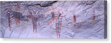 Panoramic View Of Petroglyphs Of Stick Canvas Print by Panoramic Images