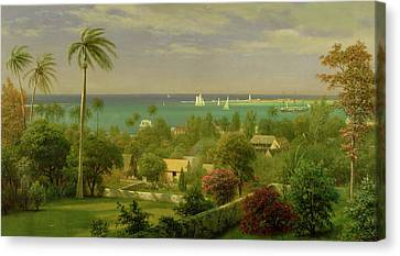 Panoramic View Of The Harbour At Nassau In The Bahamas Canvas Print by Albert Bierstadt