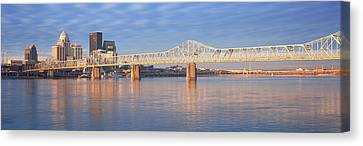 City Of Bridges Canvas Print - Panoramic View Of The Ohio River by Panoramic Images