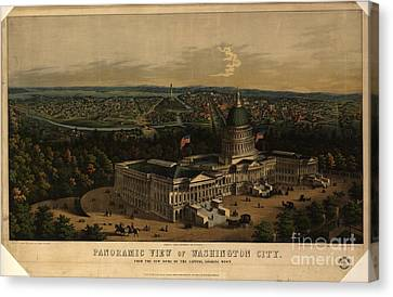 Panoramic View Of Washington City From The New Dome Of The Capitol Canvas Print