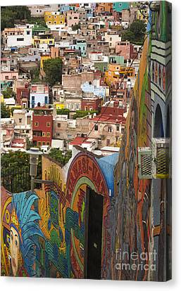 Panoramic Vista Of Colorful Buildings In Downtown Guanajuato Mexico Canvas Print by Juli Scalzi