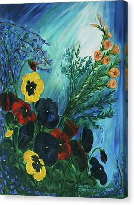 Pansies And Poise Canvas Print by Jennifer Christenson