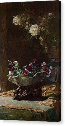 Pansies And Spirea Canvas Print