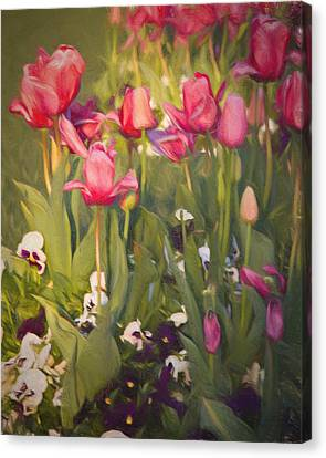 Canvas Print featuring the photograph Pansies And Tulips by Lana Trussell