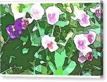 Pansies Flower Garden Panel Two Canvas Print by Linda Mears