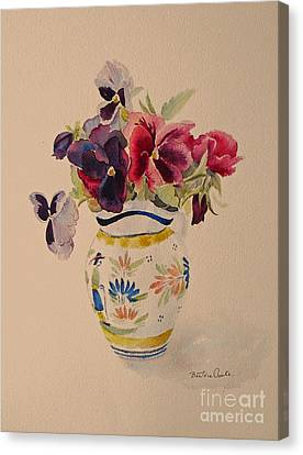 Pansies In A Quimper Pot Canvas Print