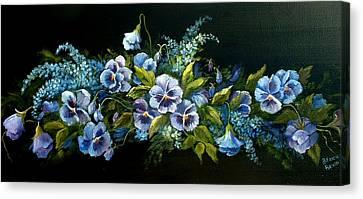 Pansies In Blue On Black Canvas Print