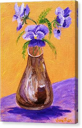 Pansies In Brown Vase Canvas Print by Jamie Frier