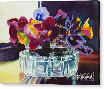 Pansies In Crystal Vase   Canvas Print by Kathy Braud