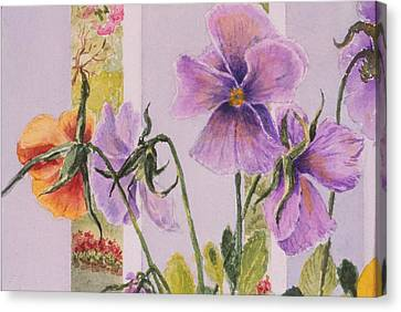 Pansies On My Porch Canvas Print by Mary Ellen Mueller Legault