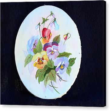 Pansies Posing Canvas Print by Alanna Hug-McAnnally