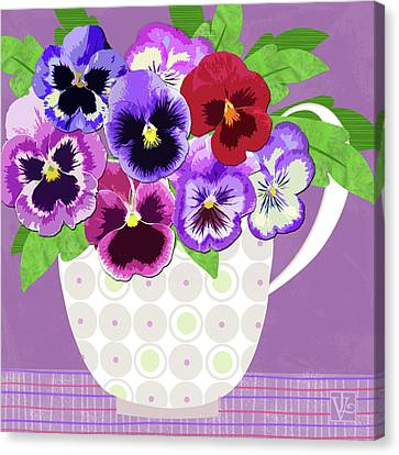 Pansies Stand For Thoughts Canvas Print by Valerie Drake Lesiak