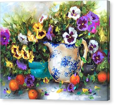 Pansies Canvas Print - Pansy Panoply by Nancy Medina
