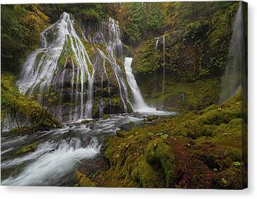 Panther Creek Falls In Autumn Canvas Print by David Gn