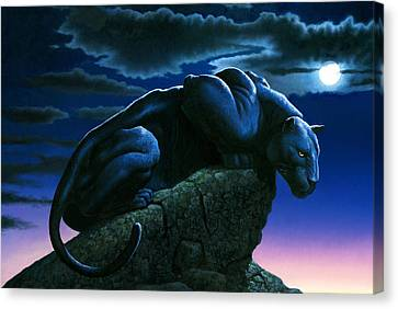Panther On Rock Canvas Print by MGL Studio - Chris Hiett