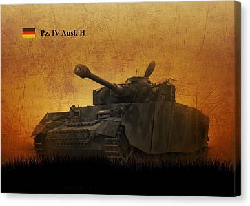 Canvas Print featuring the digital art Panzer 4 Ausf H by John Wills
