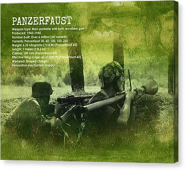 Canvas Print featuring the digital art Panzerfaust In Action by John Wills