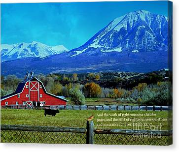 Paonia Mountain And Barn Canvas Print by Annie Gibbons