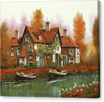 Papaveri Al Torrente Canvas Print by Guido Borelli