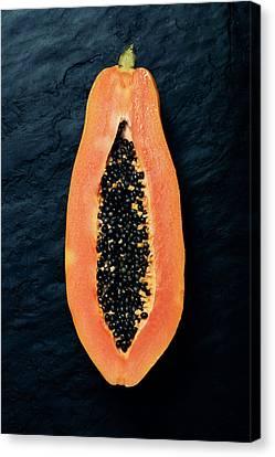 Crosses Canvas Print - Papaya Cross-section On Dark Slate by Johan Swanepoel