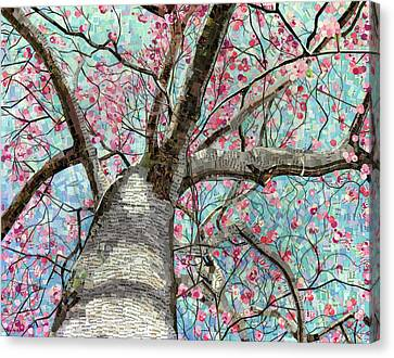 Canvas Print featuring the mixed media Paper Magnolias by Shawna Rowe