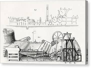 Paper Making Machine, 19th Century Canvas Print