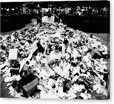 Paper Refuse After Heavy Trading Canvas Print by Everett