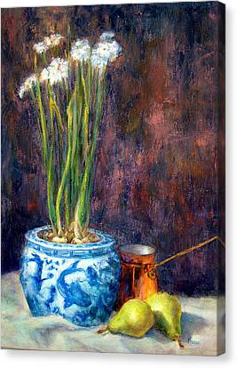 Paper Whites And Pears Canvas Print