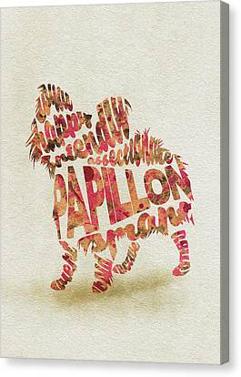 Canvas Print featuring the painting Papillon Dog Watercolor Painting / Typographic Art by Inspirowl Design