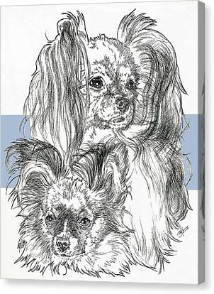 Papillon Father And Son Canvas Print by Barbara Keith