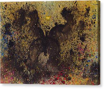 Canvas Print featuring the painting Papillon Noir - Dark Butterfly - Mariposa Negra by Marc Philippe Joly