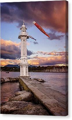 Suisse Canvas Print - Paquis Lighthouse Geneva Switzerland  by Carol Japp