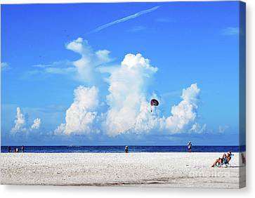 Canvas Print featuring the photograph Para Sailing On Siesta Key by Gary Wonning