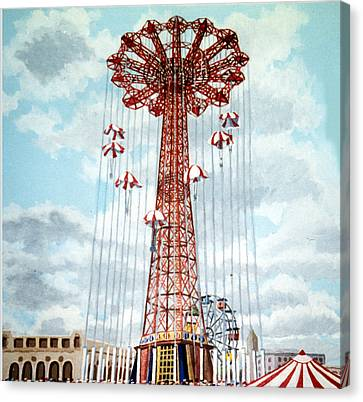 Parachute Jump In Coney Island New York Canvas Print by Bonnie Siracusa