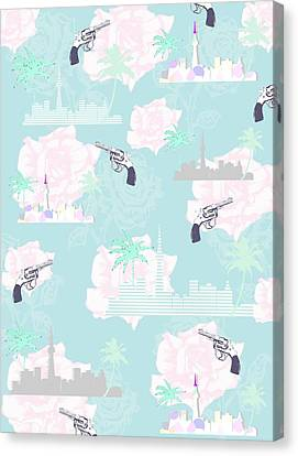 Rose Patterned Curtains Canvas Print - Paradise City by Beth Travers