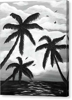 Canvas Print featuring the painting Paradise In Black And White by Teresa Wing