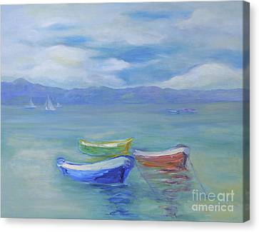 Paradise Island Boats Canvas Print by Barbara Anna Knauf