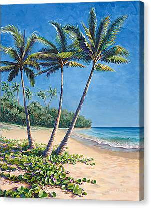 Canvas Print featuring the painting Tropical Paradise Landscape - Hawaii Beach And Palms Painting by Karen Whitworth