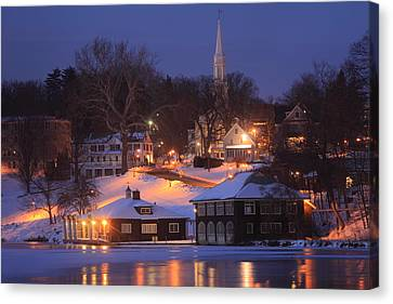Paradise Pond Smith College Winter Evening Canvas Print by John Burk