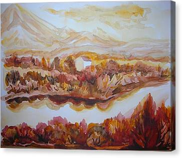 Canvas Print featuring the painting Paradise Valley by Anna  Duyunova
