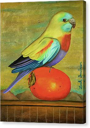 Parakeet On A Persimmon Canvas Print by Leah Saulnier The Painting Maniac