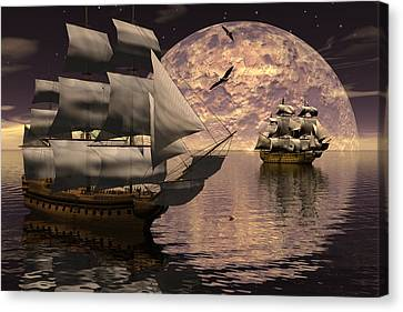 Tall Ship Canvas Print - Parallel Course by Claude McCoy