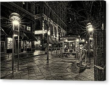 Store Fronts Canvas Print - Paramount Cafe Bnw by Todd Yoder