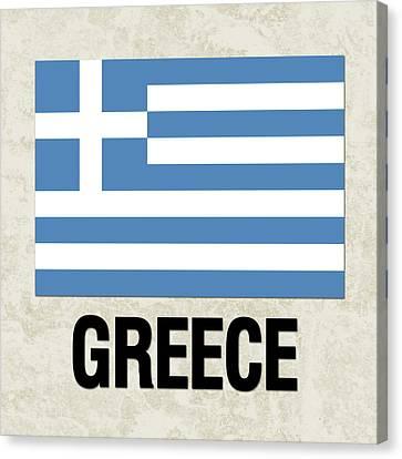 Parchment Flag Greece Canvas Print by Elaine Plesser