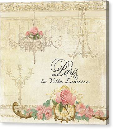 Parchment Paris - City Of Light Chandelier Candelabra Chalk Roses Canvas Print by Audrey Jeanne Roberts