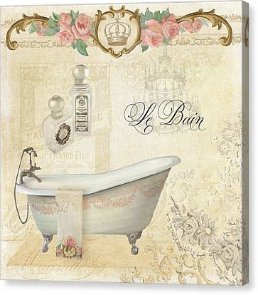 Parchment Paris - Le Bain Or The Bath Chandelier And Tub With Roses Canvas Print by Audrey Jeanne Roberts