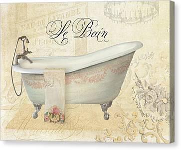 Parchment Paris - Le Bain Vintage Bathroom Canvas Print by Audrey Jeanne Roberts