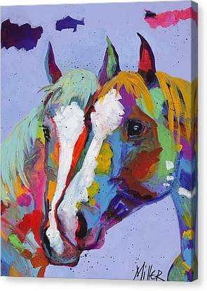 Horse In Art Canvas Print - Pardners by Tracy Miller